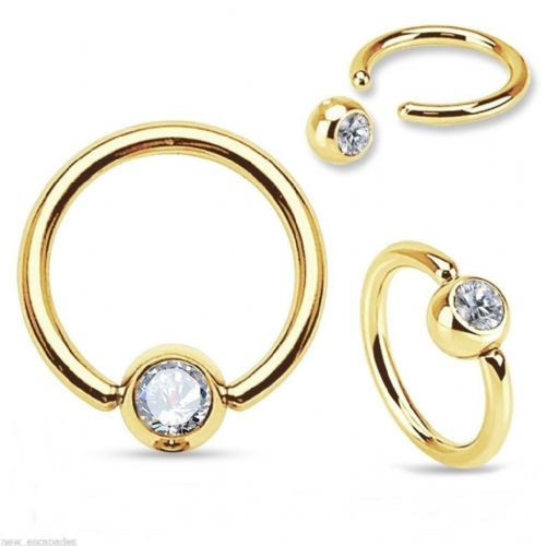 Gold Plated Ball Closure Ring with Clear Gem Ball